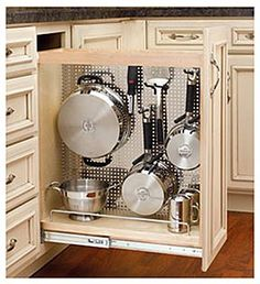 Trendy kitchen storage ideas for pots and pans products Kitchen Organization, Kitchen Storage, Organizing, Organization Ideas, Diy Cabinets, Kitchen Cabinets, Storage Cabinets, Pan Storage, Storage Ideas