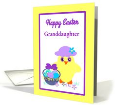 Custom Granddaughter Easter Chick, Basket, Colored Eggs and Flowers card