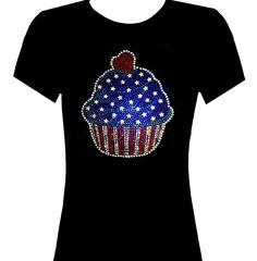 25514018160 Rhinestone American Flag Cupcake Short Sleeve T-Shirt Size