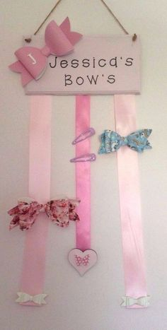 Personalised Hair Bow Clip Holder Bedroom, Fits JoJo Siwa Bow sizes. REDUCED