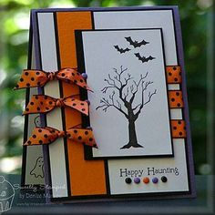 """Haunting Sketch """"Happy Halloween"""" Card, with orange & black polka dot ribbon Fall Cards, Holiday Cards, Christmas Cards, Halloween Cards, Happy Halloween, Halloween Scrapbook, Halloween Ideas, Thanksgiving Cards, Card Sketches"""
