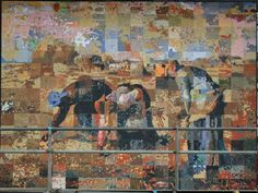 "To recreate ""The Gleaners"" the painting was divided up into a patchwork of 300 panels, then distributed to students to enlarge and paint in Tunbridge Wells in UK"