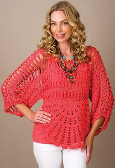 Pure handknit mysterious crochet pullover in coral. (inspiration only)