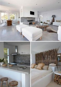 I love the white in this open floor plan. They painted/stamped concrete floor rocks.m. ibiza home by the style files: