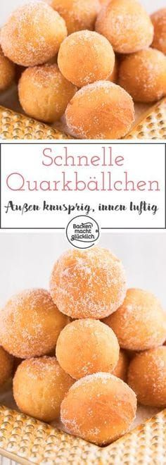 Easy Cake : Nice crunchy and airy inside - these quark balls are just delicious . Baking Recipes, Cookie Recipes, Dessert Recipes, Food Cakes, Baking Power, Churros, No Bake Cake, Easy Desserts, Sweet Recipes