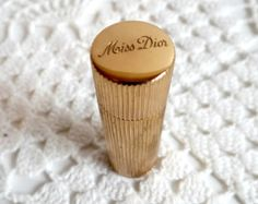 Vintage Miss Dior Christian Dior Perfume 1940s, Collectible Miss Dior Gold Metal Refillable Fragrance Bottle, Hollywood Regency, Vanity