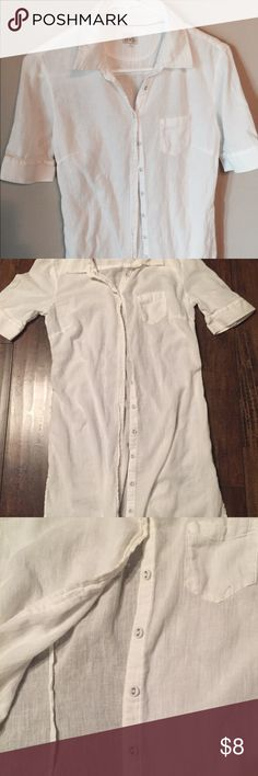 Converse button down Tunic size small Converse Tunic size small  •solid white  •slightly see-through  •half sleeves  Preowned in excellent condition Converse Tops Tunics