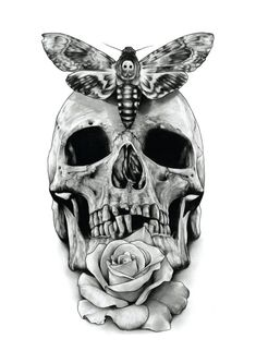 Skull Rose and Deaths head hawk moth by AaronKingIllustrator, £15.00