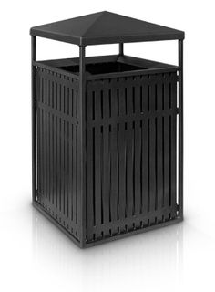 Powder-Coated Steel Square Trash Receptacle with Angled Roof | 38 Gallon Liner