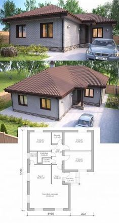61 best Ideas for bungalow house plans design Bungalow House Plans, Dream House Plans, Modern House Plans, Small House Plans, Home Design Plans, Plan Design, Glass Green House, Flat Roof House Designs, Traditional Front Doors