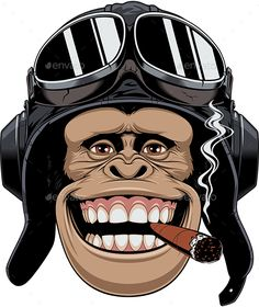 Buy Monkey in Helmet Pilot by on GraphicRiver. Vector graphics Install any size without loss of quality. ZIP archive contains: 1 -file 1 -file PNG; 1 -file P.