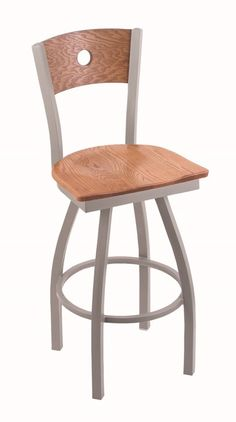 30''H, 360° Swivel barstool, Features include:, Anodized Nickel finish frame, Medium Oak finish back, Medium Oak finish seat, Solid welded frame, Finished with a epoxy-polyester powder coat, providing a durable, long lasting finish, Made with commercial quality, plating grade steel, Flood glides prevent floor scratching, Rated for up to 350 lbs., Made in The USA, 5 Year Residential Structural Frame Warranty. Lifetime warranty on swivel