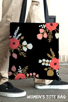 Bag Shopping - The roses black tote bag is a perfect gift for girls and women. Shipping worldwide from U.S. Check out on restylegraphic.com   Floral Tote, Shopping Bag, Womens Handbag, Shoulder Handbag, Mom Gift, Gift for Her, Waterproof Tote Bag, Pattern Totes