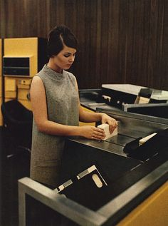 1968 - Loading a stack of punch cards into the H632 General Purpose Digital Computer (Honeywell Information Systems, Inc.). #ComputerHistory