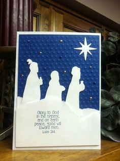 Three Wise Men Christmas card~AS (Cuttlebug embossing folder and Making Memories Slice die-cuts)