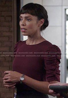 Camille's burgundy ruched sleeve top on Bones.  Outfit Details: http://wornontv.net/52829/ #Bones