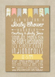 Baby Shower Invitation - Neutral, Boy, Girl - Yellow, Blue, Pink, Grey, Kraft Paper - Chevron, Dots - Banner, Bunting, Flag - Printable, DIY on Etsy, $12.00