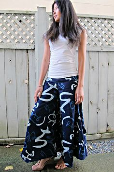 New design Indigo Hiragana Symbols Wide Leg Pants by Siamurai #leggings #trousers #comfypants