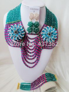 Find More Jewelry Sets Information about Gorgeous! Army green mixed fuchsia pink Crystal Beads Nigerian wedding african beads jewelry set costume jewelry set AAC094,High Quality jewelry rock,China jewelry benefits Suppliers, Cheap jewelry set from Alisa's Jewelry DIY Store on Aliexpress.com