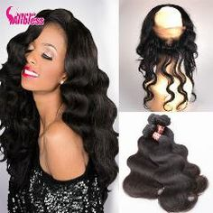 Human Hair Weaves Aspiring Ali Sky Peruvian Hair Body Wave 3 Bundles With 360 Lace Frontal Closure Pre Plucked With Baby Hair Non Remy 100% Human Hair