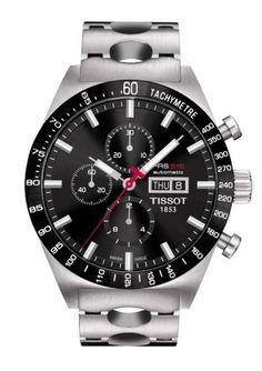Montre TISSOT Homme PRS516 automatique, cadran noir, modèle avec chronographe, verre saphir et bracelet à trous en acier.