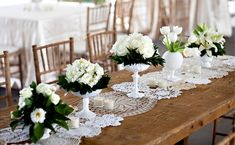 doily table runner.   Beautiful on wooden table.  Just stitch assorted doilies together.