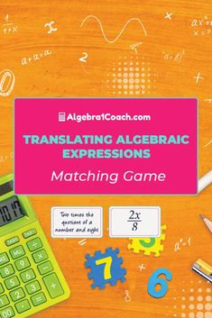 Rather than using a boring old Translating Algebraic Expressions Worksheet to teach this lesson we made a Variables and Expressions Game that requires students get a grasp of Translating Algebraic Expressions if they want to win! Download this lesson here..#algebra1coach #algebra #highschool #math #mathactivities #mathteacher Algebra Activities, Math Resources, Math Games, High School Algebra, Algebra 1, Translating Algebraic Expressions, Thing 1, Free Math, Matching Games