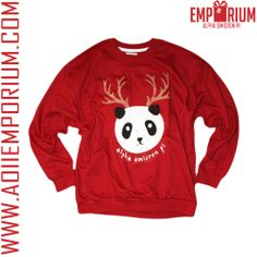 How cute is this Panda Reindeer holiday sweatshirt!! Limited quantities available! Don't miss out! Once it's gone it's gone! AOII! Alpha Omicron Pi! Emporium!!