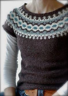 Létt-Lopi Vest by Védís Jónsdóttir, as knit by Sheepurls, Free on Ravelry - Brown cap sleeve sweater w/ pale blue/white/brown intarsia round yoke