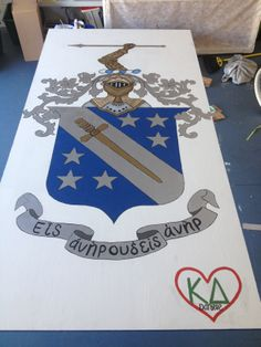 Crest table Fraternity Crafts, Fraternity Coolers, Phi Delta Theta, Sigma Chi, Cooler Connection, Beer Pong Tables, Cooler Painting, Sorority, Arts And Crafts