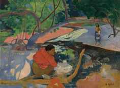 Te Poipoi (The Morning), by Paul Gauguin, Oil on canvas; 68 x 92 cm x Private collection by Paul Gauguin Paul Gauguin, Gauguin Tahiti, List Of Paintings, Impressionist Artists, Art Database, Art Moderne, Henri Matisse, French Art, Art Plastique