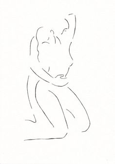Erotic illustration for bedroom gallery wall sets. Black and white line drawing of two nude figures. Original artwork.
