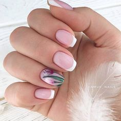 Beautiful Flowers In Combination With White French Manicure ★ French nails design ideas and tips for natural or acrylic, short or long nails with glitter French Manicure Acrylic Nails, White Tip Nails, French Manicure Designs, French Tip Nails, Nail Manicure, Nails Design, Short French Nails, White French Nails, Glitter Manicure