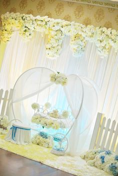 Struggling for ideas for the baby naming ceremony decoration? Remarkable cradle ceremony decoration & themes to make your little one's day memorable. Cinderella Decorations, Cinderella Theme, Indian Wedding Decorations, Ceremony Decorations, Baby Shower Decorations, Cradle Decoration, Naming Ceremony Decoration, Janmashtami Decoration, Indian Baby Showers