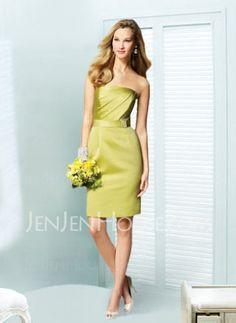 Bridesmaid Dresses - $87.99 - Elegant Sheath Strapless Knee-Length Satin Bridesmaid Dress With Ruffle Sash (007004132) http://jenjenhouse.com/pinterest-g4132