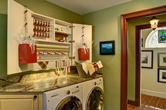 This laundry room and wrapping station is really compact and packs alot of punch in a small amount of space. Traditional laundry room by Bruen Design Build Inc Craft Room Office, Decor, Laundry Room Design, Craft Station, Laundry, Gift Wrapping Station, Remodel, Organisation Hacks, Room Design