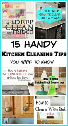 15 Handy Kitchen Cleaning Tips You Need To Know! Lots of tips to help you clean even the most difficult areas of your kitchen! cleaning tips, kitchen cleaning tips, deep cleaning Deep Cleaning Tips, House Cleaning Tips, Diy Cleaning Products, Spring Cleaning, Cleaning Hacks, Kitchen Cleaning Tips, Cleaning Schedules, Cleaning Closet, Cleaning Solutions