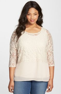 Plus Size Lace & Chiffon Top