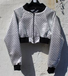 Quilted Silver Cropped Bomber Jacket by LaWoof on Etsy