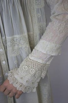I could do some fun stuff like this to some existing sleeves I have on a couple of blouses. I DO have SO much vintage lace. I could definitely make some of these sleeves. Marylee Tunic - Johnny Was Clothing Antique Lace, Vintage Lace, Victorian Lace, Victorian Dresses, Fashion Details, Look Fashion, 70s Fashion, Johnny Was Clothing, Vintage Outfits