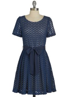 Casually Chevron Dress - Blue, Chevron, Belted, Casual, A-line, Short Sleeves, Good, Scoop, Sheer, Woven, Short