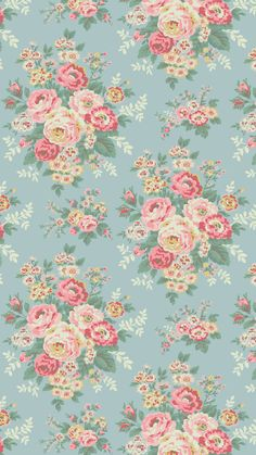 Candy Flowers Phone wallpaper that features pink flowers on a pale blue background. IPhone and Android wallpaper. Pink Wallpaper Backgrounds, Blue Flower Wallpaper, Vintage Flowers Wallpaper, Vintage Wallpaper Patterns, Vintage Floral Backgrounds, New Wallpaper Iphone, Blue Wallpapers, Trendy Wallpaper, Background Vintage
