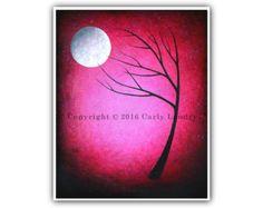 Moon Phases Art Print Phase V Minimalist Modern Dark by Landry