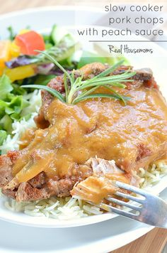 Slow Cooker Pork Chops with Peach Sauce   Real Housemoms