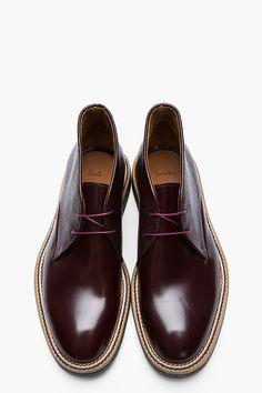 PAUL SMITH  Mahogany leather Chukkas $580.00@ssense.com
