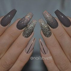 ✨ REPOST - - • - - Dark Brown, Nude and Gold Glitter on long Coffin Nails ✨ - - • - - Pictur