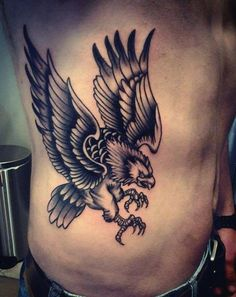 Male Torso Sharp Clawed Bald Eagle Tattoo