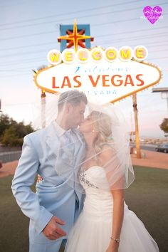 just married with the Welcome to Vegas sign