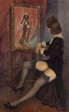 Model in Black Stockings  -   Chalyapin, Boris Fyodorovich 1939  Russian 1904-1979