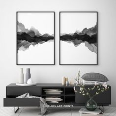 Set of 2 abstract minimalist landscape watercolours, Set of two black and white printable digital . Black And White Wall Art, Black And White Painting, Black And White Abstract, Black Framed Art, Black And White Landscape, Watercolor Walls, Watercolor Landscape, Abstract Landscape, Watercolour Art